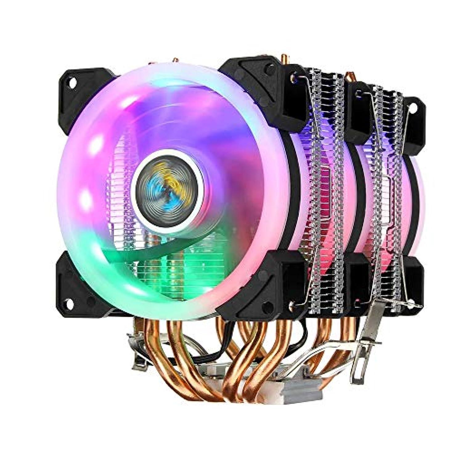 途方もない省広くPCケースファン インテルAMDコンピュータケースファンとの互換性のファンクーラーヒートシンクを冷却カラフルなバックライト付き3ピン3人のファン4銅管デュアルタワーCPU (Color : Black, Size : One size)