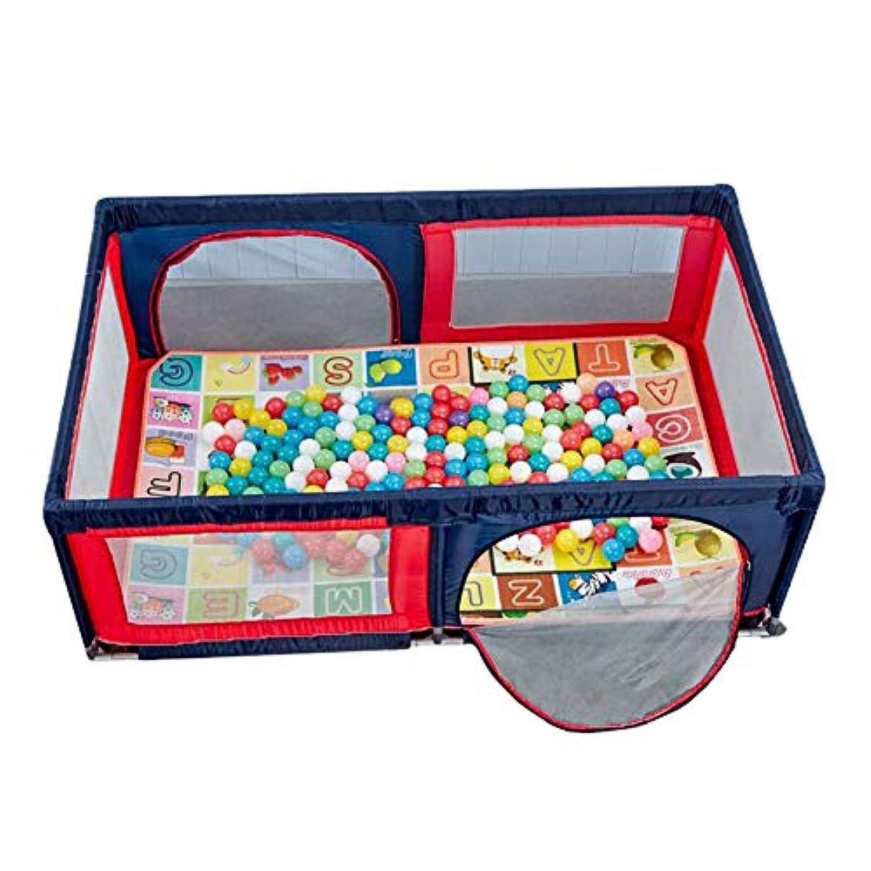 ベビーサークル 子供のゲームフェンス、幼児クロールマット、ポータブルプレーヤード - 赤+青 (サイズ さいず : 120X190cm)