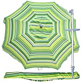 Snail 7 ft Vented Tilt Telescoping Aluminum Beach Umbrella w/Integrated Sand Anchor,Carry Bag, Portable Pool Sun Shade for Chairs, Yellow [並行輸入品]