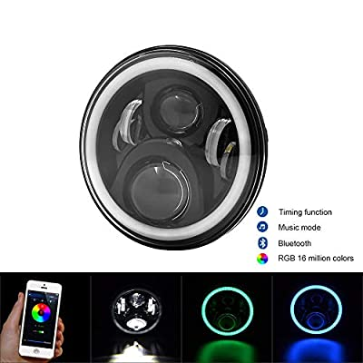 "7"" Round LED Headlight & Halo Angle Eye For Jeep Wrangler JK TJ Bluetooth App"