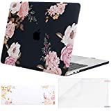 MOSISO MacBook Pro 13 Plastic Pattern Hard Case 2019 2018 2017 2016 A2159 A1989 A1706 A1708 w/&w/o Touch Bar,Case&Keyboard Cover&Screen Protector Compatible with Mac Pro 13,Peony on Black Base