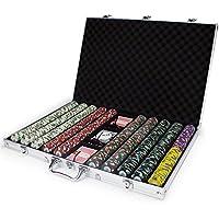 1000 Ct Poker Knights Poker Chipセットinアルミニウムケース、13.5-gram HeavyweightクレイComposite by Claysmithゲーム