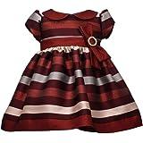 Bonnie Jean Holiday Christmas Dress - Short Sleeve Burgundy Stripe Dress for Baby Girls