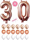 (30) - 30th Birthday Decorations,30 Rose Gold 100cm Number Balloons Foil Mylar With Rose Gold Confetti Balloons 12 Latex Balloons For Anniversary