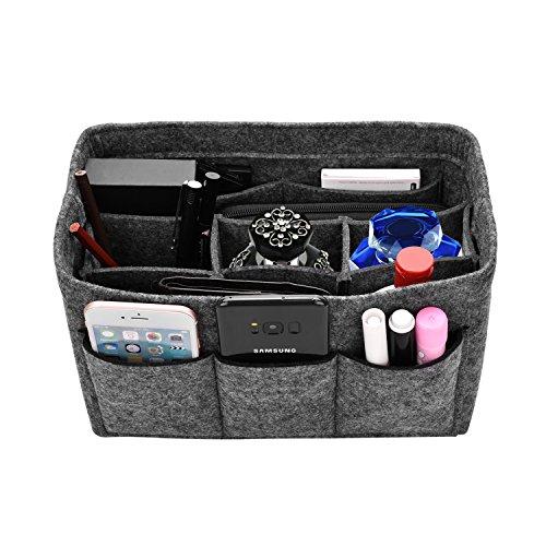 Kumako フェルト バッグインバッグ 小物収納 バッグ インナーバッグ 高級 旅行/通勤/通学など用 収納便利グッズ (グレー M)
