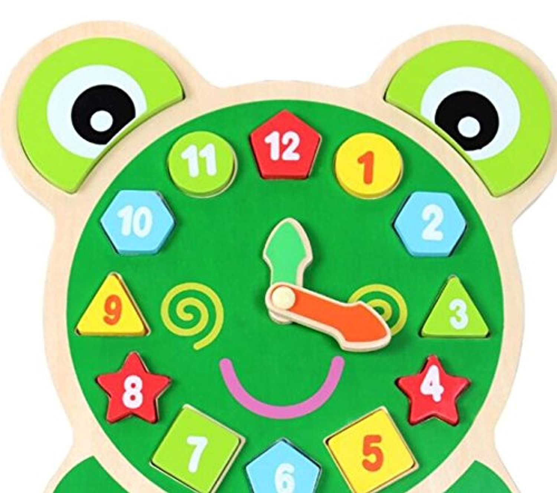 HuaQingPiJu-JP 教育木製時計玩具早期学習時間の数の形の子供のための色の動物玩具