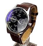 メンズ 腕時計 カジュアルスタイル ブラウン レ ザーレベル 黒い文字盤