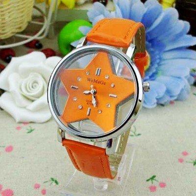 【2T】腕時計 レディース メンズ 男女兼用 スター 星 盤 おしゃれな かわいい ウォッチ (橙)