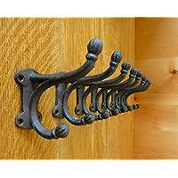 8 ブラウン アンティークスタイル ダブルボールコートフック 4インチ 鋳鉄 素朴な壁用金具