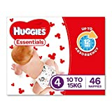 Huggies Essentials disposable nappies are Huggies' new value range with Reliable up to 12hrs absorbency. The Essentials Size 4 nappy is for babies between 10 to 15kg and features a Leak Lock System that quickly draws moisture away and locks i...