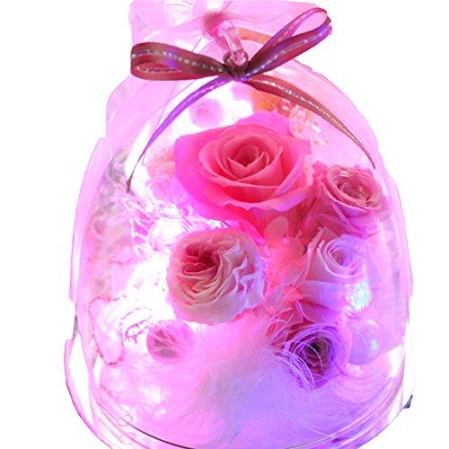 Azurosa(アズローザ) プリザーブドフラワー ギフト 枯れない花 ガラスドーム バラ ローズ アジサイ カスミソウ 光る 7色 ピンク