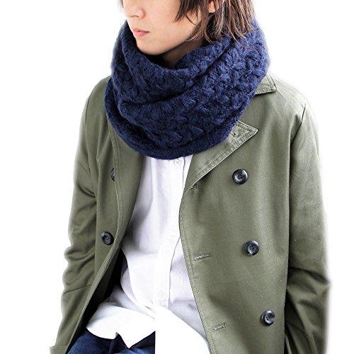 メンズストール専門店MORE Style #09-ネイビー#ふわふわ暖かニットスヌード/スヌード/マフラー/メンズ