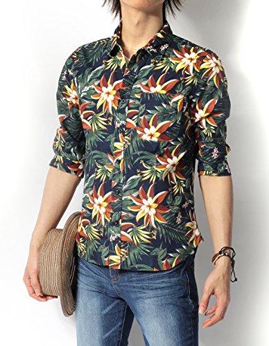 (リピード) REPIDO シャツ メンズ 七分袖シャツ 花柄 アロハ ブロード B.ネイビー Mサイズ