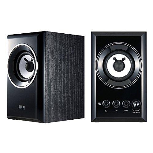 サンワサプライ 木製2chマルチメディアスピーカー ブラック MM-SPWD2BKN