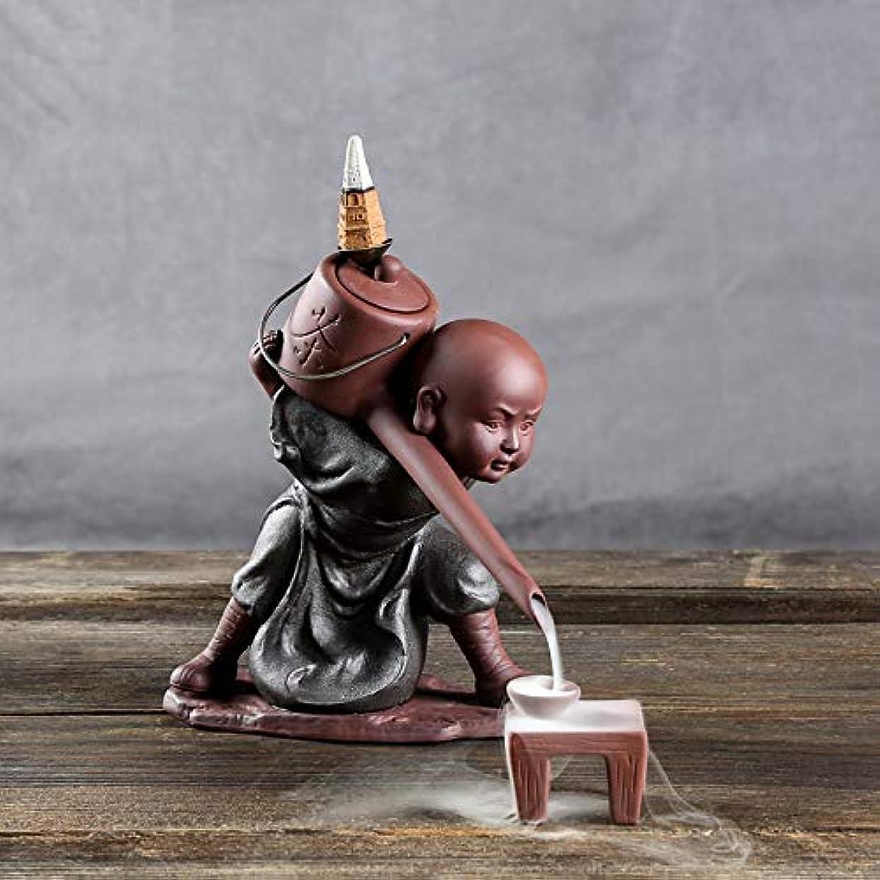 試してみるタワー征服PHILOGOD 陶器香炉 セラミックスポッター逆流香炉 僧侶は水を注ぐモデリング仏壇用香炉 お香 ホルダー (style1)