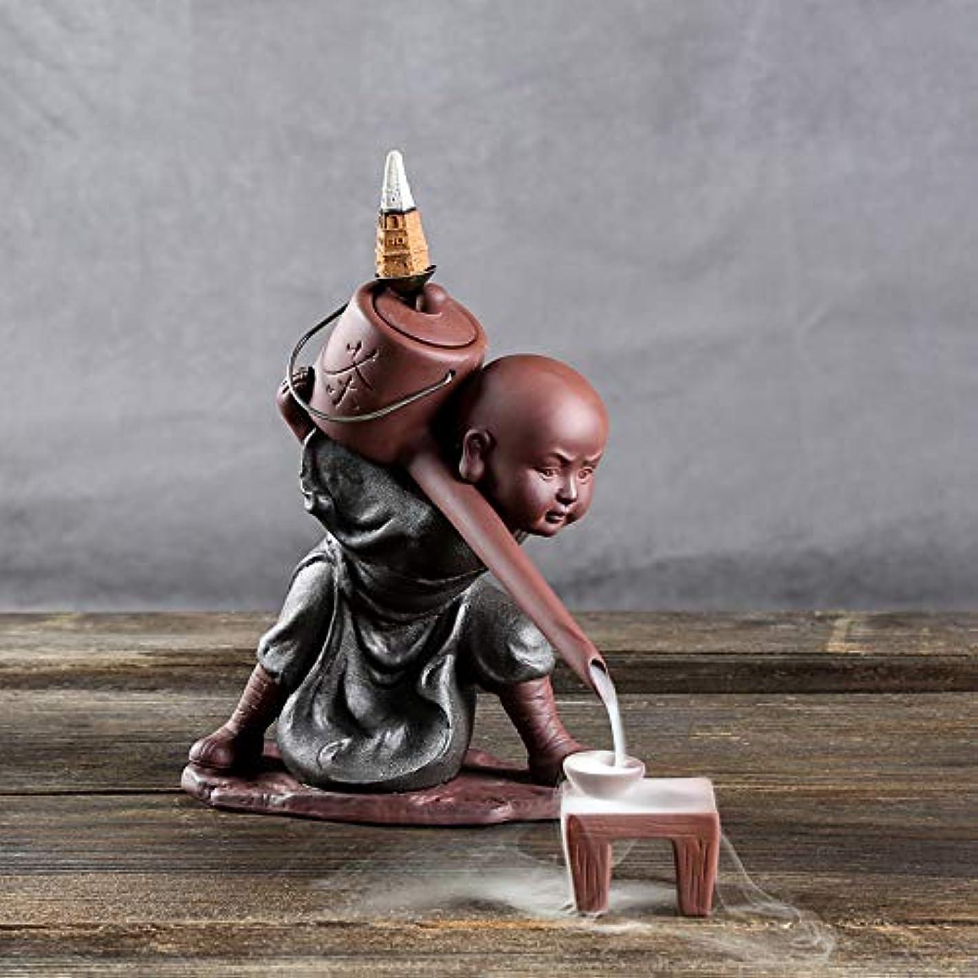 世辞既婚暖炉PHILOGOD 陶器香炉 セラミックスポッター逆流香炉 僧侶は水を注ぐモデリング仏壇用香炉 お香 ホルダー (style1)