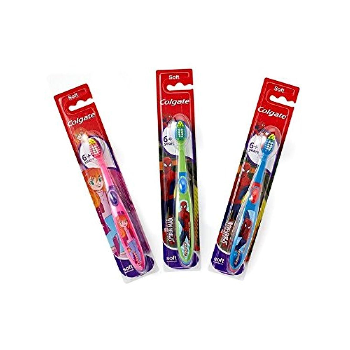 有彩色の話をするエンドテーブル6+年の歯ブラシを笑顔 (Colgate) (x 6) - Colgate Smiles 6+ Years Toothbrush (Pack of 6) [並行輸入品]