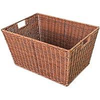 大きなポータブルランドリーバスケットのベッドルームプラスチックラタン汚れたハンパーの家庭用服雑貨のストレージバスケット、48 * 34 * 26センチメートル (色 : A)
