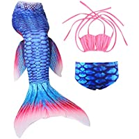 Cckuu New Swimming Fancy Costume Kids Girl Mermaid Tail Bikini 3PCS Set Swimwear