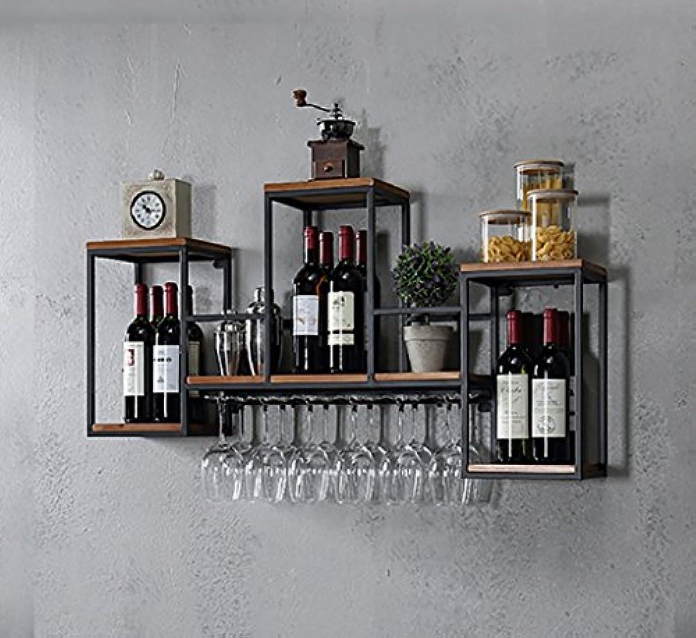 YD-Wine rack 鍛鉄+ソリッドウッド黒い壁に吊り下げられた多層ストレージ簡単な収納を簡単に組み立てる必要はない2つのスタイルを簡単に取り付けるオプションで8-12のゴブレットを掛ける # (色 : B, サイズ さいず : 106 * 20 * 55CM)