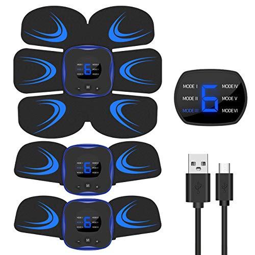 EMS 腹筋ベルト 液晶表示 USB充電式 腹筋 腕筋 筋トレ器具 トレーニングマシーン