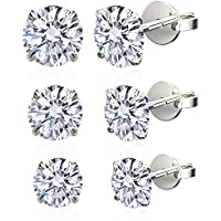 .925 Sterling Silver Cubic Zirconia Round Stud Earrings For Women or For Men, 3 Pairs Set, 4mm, 5mm, 6mm