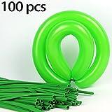 100ストリップ1パック----ロングストリップ バルーン(色:グリーン) 緑 パーティー小物 飾り 屋外 誕生日 パーティ 文化祭やハロウィン 装飾 風船