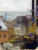 """ビューウィンドウの花からby Emil Jakobタイル壁画キッチンバスルーム壁後ろの油ストーブ範囲シンク止め板3x 44.25インチセラミック、光沢 6"""" Marble I576__3x4_6ihMarb_Tile_Mural"""