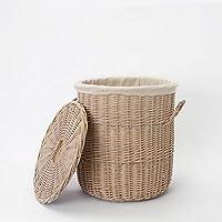 ストレージバスケット服おもちゃスナックHamper Bin自然ウィローVine手編み寝室リビングルームTG L 487-017