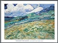ポスター フィンセント ファン ゴッホ Landscape from Saint-Remy 1889 額装品 アルミ製ベーシックフレーム(ブラック)