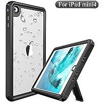 Deepsonic iPad mini 4 防水ケース タブレットケース IP68防水規格 耐衝撃 薄型 全面保護アイパッドカバー スタンド機能 安心感 ストラップ付き アウトドア 水場 キッチン プール (黒+透明)