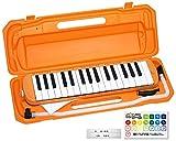 KC キョーリツ 鍵盤ハーモニカ メロディピアノ 32鍵 オレンジ P3001-32K/OR (ドレミ表記シール・クロス・お名前シール付き)