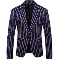 Howme-Men Simple Vogue Striped Casual Loose One Button Blazer Coats