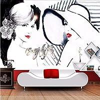 Wuyyii カスタム3D壁壁画ファッション美容写真壁紙衣料品店抽象美術背景壁の装飾3D-400X280Cm