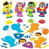 ジャンピング?スターヒーロー 手作りキット(6個入り)カラフルでかわいい! ディスプレイやゲーム、パーティの景品に スーパーマン