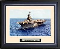 """海軍Emporium–USS Independence cv-62–Framed–フォト–Engraved出荷名前–ダブルマット–写真–16x 20–125cv62 20""""W x 16""""H ブルー 140125000005"""