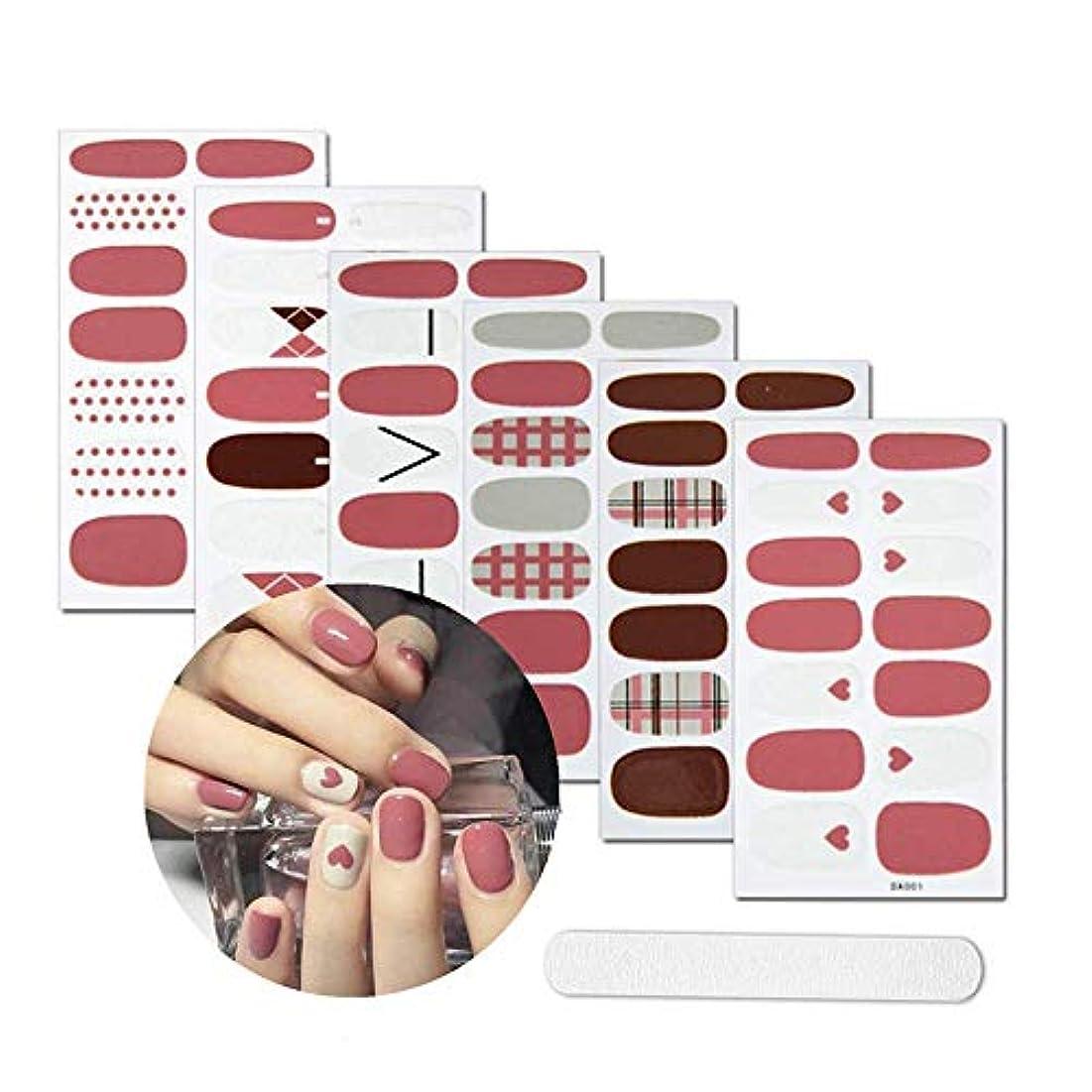 混合した除外する記者ネイルシール 貼るだけマニキュア 6枚セット ネイルアート ネイルステッカー ネイルアクセサリー女性 簡単 レディースプレゼント ギフト可愛い 人気 おしゃれ上級 爪やすり1本付き