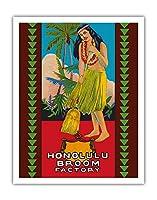 ホノルル ほうき工場 - ハワイアンフラガール - ビンテージな広告ポスター c.1950s - アートポスター - 28cm x 36cm