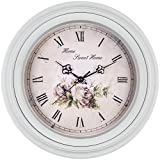 Bernhard Products Large Decorative Wall Clock 14 Inch, Traditional Vintage Style Silent Non-Ticking Quality Quartz Battery Operated Clock, Home Sweet Home Flower Design [並行輸入品]