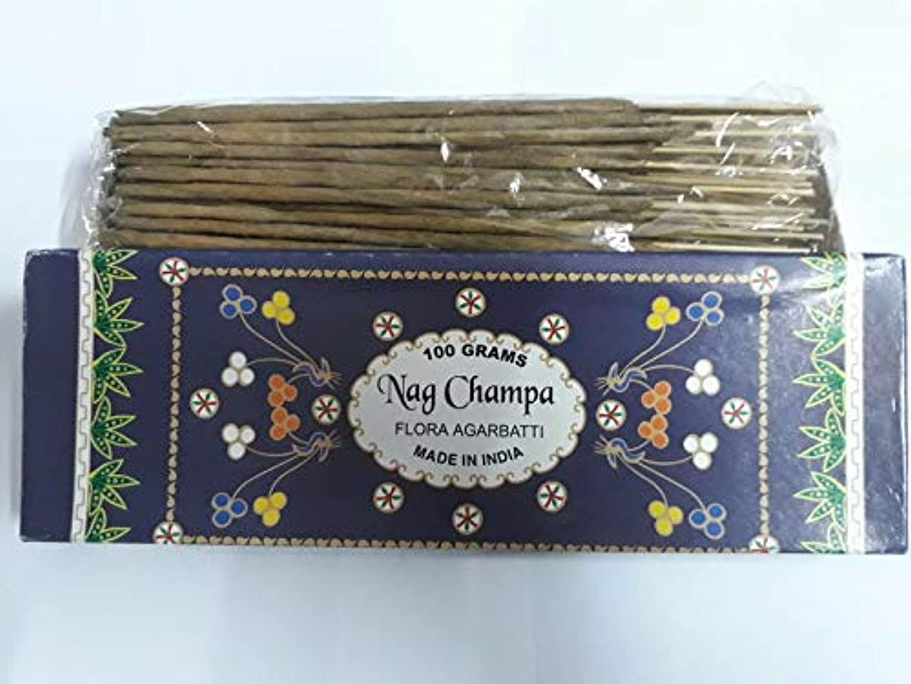 出費滑る柔和Nag Champa ナグチャンパ Agarbatti Incense Sticks 線香 100 grams Flora Agarbatti フローラ線香