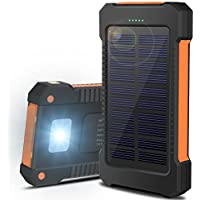 OJA 10000mAh 超大容量モバイルバッテリー ソーラーパネル 2ポート 太陽光充電器 6個LED付き 防水 防塵 耐衝撃 旅行/BBQ/アウトドア/地震/災害時用