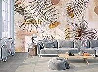 Bzbhart 壁壁画壁紙北欧シンプルファッション手描き葉テクスチャアート壁画背景壁壁紙-300cmx210cm