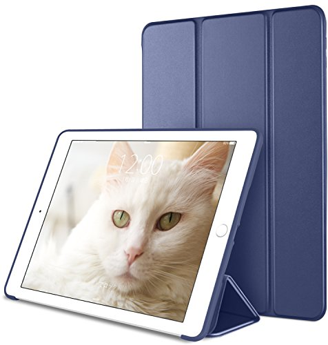 DTTO iPad Mini 1/2/3 ケース 生涯保証カード付け 超薄型 超軽量 TPU ソフト PUレザー スマートカバー 三つ折り スタンド スマートキーボード対応 キズ防止 指紋防止 [オート スリープ/スリー プ解除] ネイビーブルー