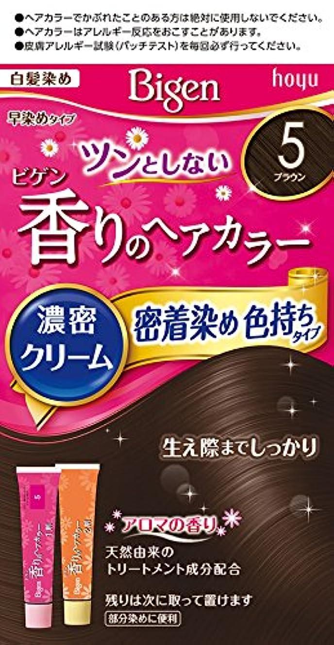 朝長老訪問ホーユー ビゲン香りのヘアカラークリーム5 (ブラウン) 1剤40g+2剤40g [医薬部外品]