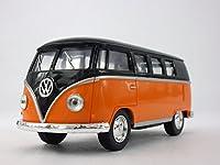 Volkswagen - VW T1 (Type 2) Bus 1/32 Scale Diecast & Plastic Model - BLACK/ORANGE