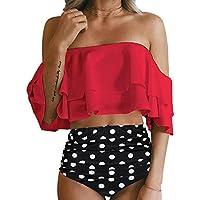 Tempt Me Women Two Piece Off Shoulder Ruffled Flounce Crop Bikini Top Print Cut Out Bottoms