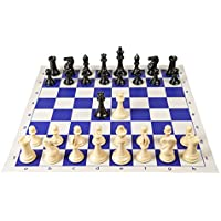 Quadruple Weight Tournament Chess Game Set - Chess Board Game with Staunton Camel Chess Pieces, Blue Vinyl Chess Board