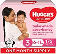 HUGGIES Ultra Dry Nappies, Girls, Size 3 (6-11kg), One Month Supply, 176 count, (Packaging May Vary)