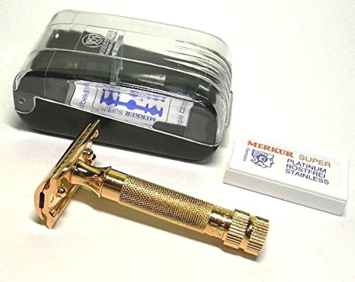 極小発症遅らせるメルクール(独)安全器両刃ホルダー334G オール金メッキ(替刃10枚付