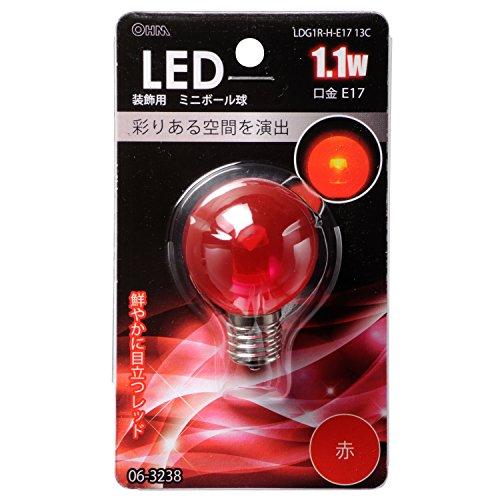 LED電球 ボール電球形 E17 赤 1.1W 58mm_LDG1R-H-E17 13C 06-3238